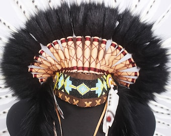 Cool White Native Headband Warbonnet Handmade Headpiece - Hat Feathers Indian Inspired Headdress - Costume Native American Headpiece