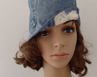 Recycled denim cloche Hat