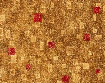 Robert Kaufman Gustav Klimt Red Gold Yellow Cotton Gilded Fabric BTY SRKM-17181-3