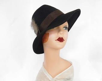 Black fedora hat, vintage 1960s with feathers, Glenda