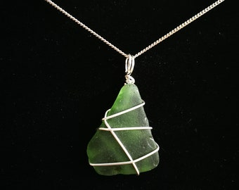 Wire wrapped green seaglass pendant