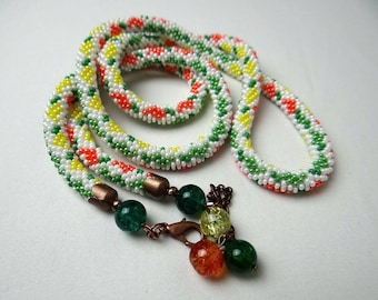 Handmade crocheted knitted beaded necklace multicolour
