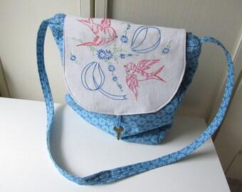 Blue Fabric Shoulder Bag, Hippie Chick Bag, Tablet Purse, Laptop Purse, Blue slouch bag, iPad purse, boho shoulder bag. HC41