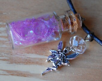 Necklace~ Fairy Wings in a Bottle, Lavender, with charm and bead