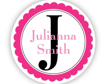 Personalized Name Label Stickers - Pink Fuchsia Initial Monogram Name Tag Stickers - Round Name Sticker Tags - Back to School Name Labels