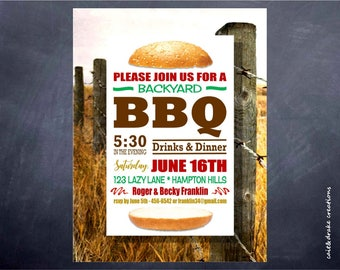 Backyard BBQ Barbeque Summer Party Invitation Digital Printable!