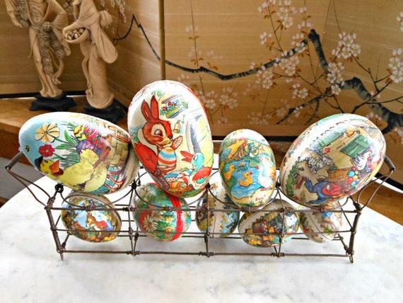 Antique Paper Mache Easter Egg Box Lot - German Easter Eggs -
