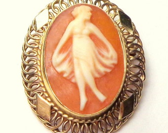 SALE, Solid 14K Yellow Gold Filigree Setting,Carved Shell, Antique Cameo, Brooch/Pendent, Italian Cameo, Hand Carved, Dancing Lady