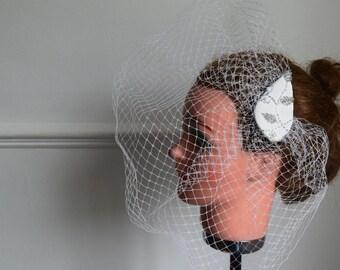 Large off white birdcage veil fascinator