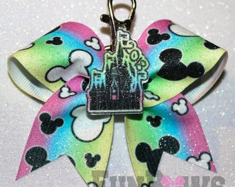Amazing ORIGINAL design Disney Castle Cheer Keychain Bow  ! - By FunBows !