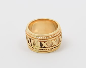 14K Yellow Gold Roman Numeral Ring, Size 6