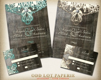 Rustic Lace Wedding Invitation, Digital Printables, Burlap, lace, wood and vintage elements for that rustic country wedding, Invite & RSVP