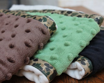 Set of 3 Matching Burp Cloth with Dimple Dot Minky and Camo Ribbon edging - Great for a Baby Shower or New Baby