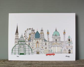 Vienna A3 Print - Vienna Cityscape - Vienna Architecture - Vienna Skyline Print - Vienna Engagement Gift - Vienna Wedding Gift