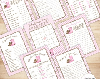 Baby Shower Game Cowgirl Baby Shower Games Package, Country Western Girl Baby Shower Games Printable, Pink and Brown, Paisley and Gingham -