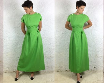 1970s Cotton Mix Handmade Lime green Maxi S - XS  Wasp waist