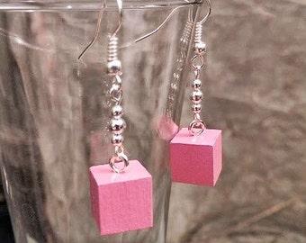 Montessori Pink Tower Cube Earrings, Best Teacher Gift, Montessori Teacher Gift, Montessori Materials
