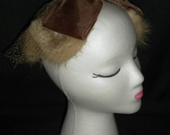Vintage 1950's Whimsy Hat with Chocolate Velvet Bow, Netting and Fur Trim