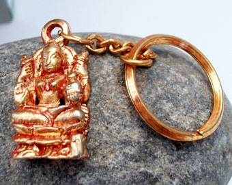 Indian Goddess with many arms Keychain Key Chain Hinduism Rose Gold Tone Ethnic Accessories