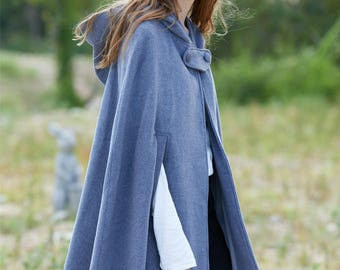 gray wool coat, cashmere coat, wool cloak in gray, wool cape, short coat, wool poncho, 100% wool coat, winter coat, hooded coat, hooded cape