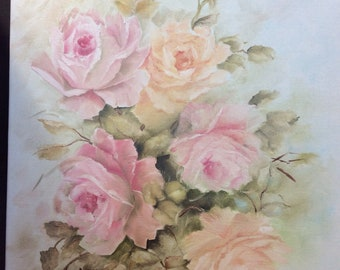 Shabby chic antique style hand painted pink roses oil on canvas 16 x 20