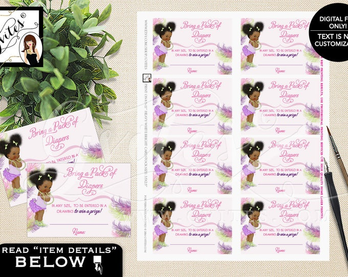 """African American diaper raffle tickets, purple pink lavender and green, ethnic baby girl raffle ticket games, pearls bows. 3.5x2.5"""" 8/Sheet."""