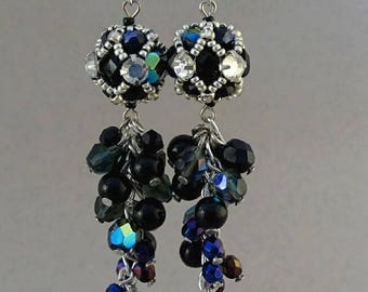 Cluster Earrings//Black//Jet//Silver//Blue//Free Shipping