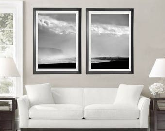 Ocean Photography Set of 2 Large Wall Art Iceland Art Reynisfjara Seascape Photo Black and White Prints Coastal Decor Fine Art Photography