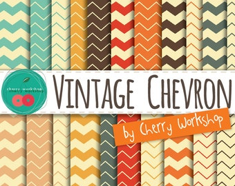 "Chevron Digital Paper ""Retro Colors Chevron"" digital paper scrapbook supplies, chevron patterns  instant download, background"