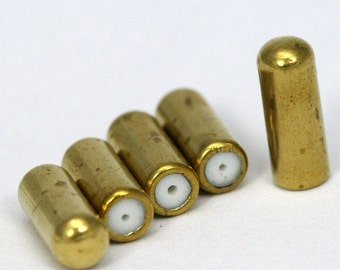 20 pcs 10.5 x 4 mm raw brass needle caps pin caps Hat pin clutch 1264R