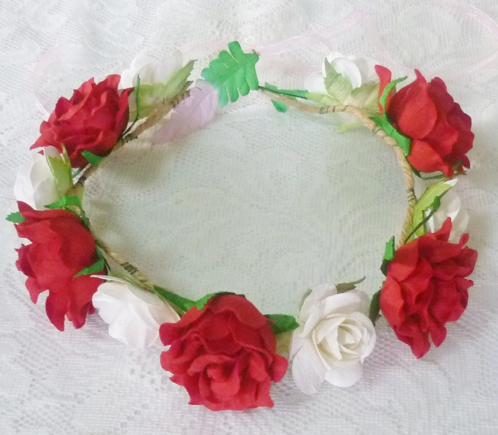 Red rose flower crown large rose white headband colorful zoom izmirmasajfo