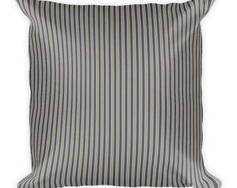 Farmhouse Pillow Grey Stripe Throw Pillow Blue and Grey Stripes Gray Striped Pillow Farmhouse Striped Square Pillow Decorator Accent Pillow