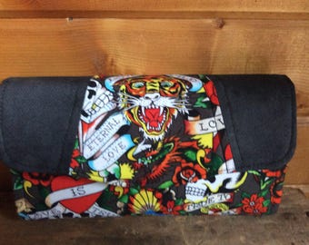 Necessary clutch wallet/NCW/Clutch/ accordion wallet/ womans wallet/tiger/skull/love/roses/ ed hardy/handmade