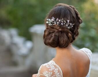 Silver pearl bridal hair comb Flower wedding hair comb Silver leaf headpiece Silver bridal hair comb Silver wedding hair accessories