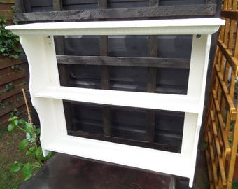 """Painted Wooden Shelf, Freestanding or Wall Mounted, Vintage 1930's Handmade Shelf, Re-finished in Ivory Chalk Paint, 25.5"""" x 21"""" x 4.5"""""""