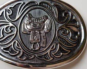 Vintage Avon Silver Western Saddle Belt Buckle