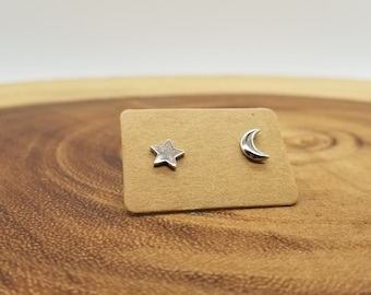 Moon and star sterling silver stud earrings