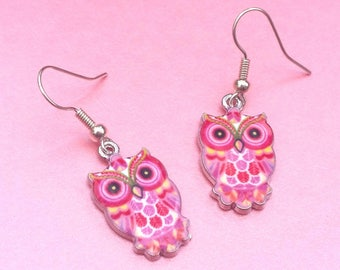 Pink owl earrings, bird jewellery, owl gift, dangle earrings, drop earrings, wise owls