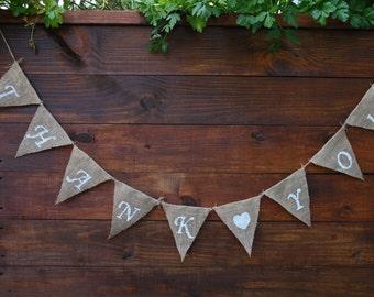 THANK YOU Burlap Banner   Thank you Banner   Wedding Banner   Party Banner   Photo Shoot Props   Rustic Wedding   Wedding Decor