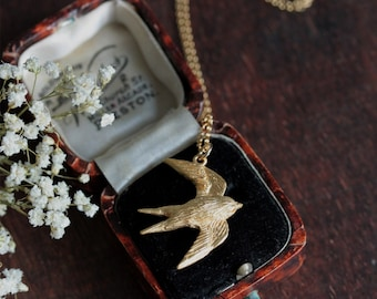 Swallow necklace - gold bird necklace - swallow pendant - woodland jewellery