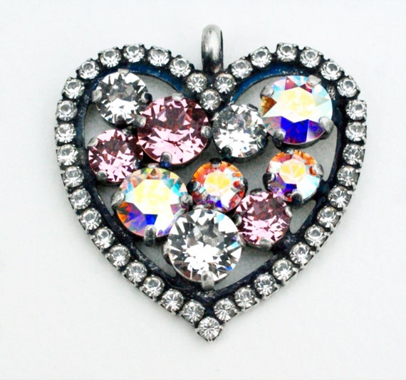 Swarovski Crystal - Heart Shaped - Add-On Charm -  Light Rose, Radiant Crystal Clear and Aurora Borealis  -  FREE SHIPPING - SALE - 35.