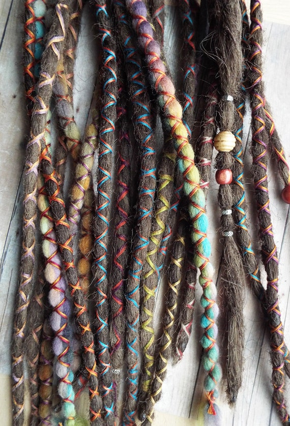 10 Custom Standard *Clip-in or Braid-in  Synthetic Hair and Wool Dreadlock Extensions Boho Dreads Hair Wraps & Beads