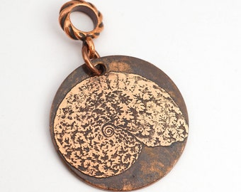 Round copper nautilus pendant, flat antiqued etched jewelry, 28mm