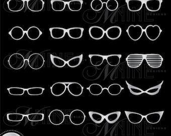SILVER EYEGLASSES Digital Clipart Glasses Vector Clipart Design Elements, Instant Download, Clip art