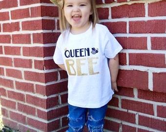 Queen Bee Tee, Toddler Shirt, Bee Shirt,  Queen, Glitter, Tshirt