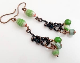 Fun Copper Monkey Earrings withGreen and Copper Tribal Style Beads NE257