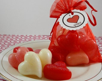 Little Hearts of Love - Valentine's Day Soap - Wedding Favors Soap - Guest Soaps - Tear Drop Shaped Heart Soap -  Glycerin Soap - SoapGarden