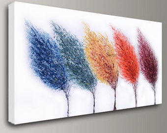 abstract painting Acrylic multi colour trees art original large canvas wall art home office decor modern palette knife Visi custom X