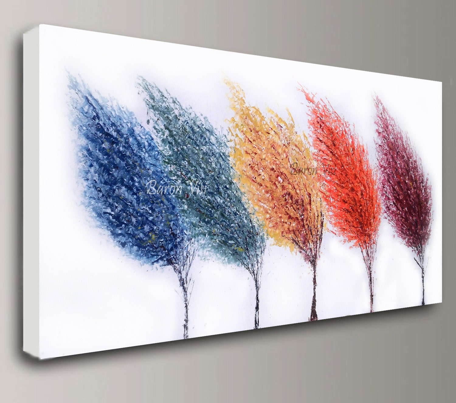 abstract painting Acrylic multi colour trees art original