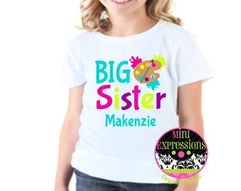 Big Sister Sister Art shirt or onesie Personalized just for your pregnancy announcement Tshirt